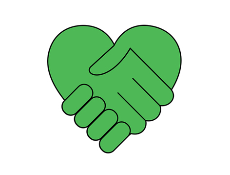 Green heart with a hand holding another hand